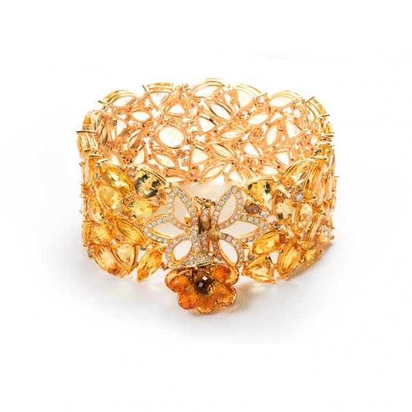 18K YELLOW GOLD BERYL YELLOW SAPPHIRE, CITRINE & FANCY COLOR DIAMOND BRACELET