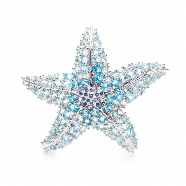 "18K WHITE GOLD ""STAR-FISH"" BLUE TOPAZ, BLUE SAPPHIRE & DIAMOND BROOCH"