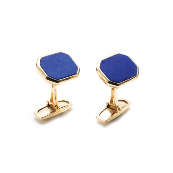 18K YELLOW GOLD LAPIS CUFFLINKS