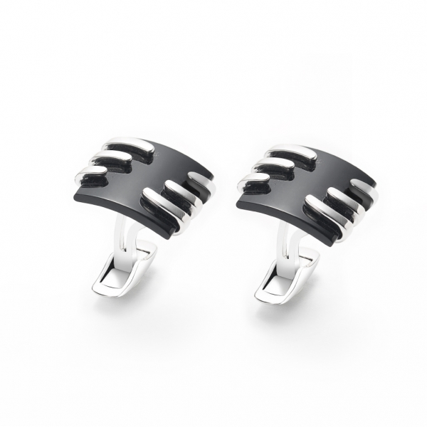 18K WHITE GOLD ONYX CUFFLINKS