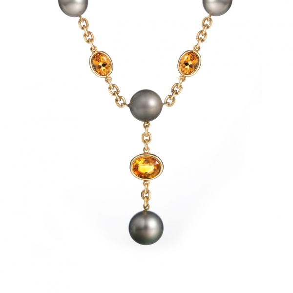 18K YELLOW GOLD TAHITIAN PEARL & CITRINE NECKLACE