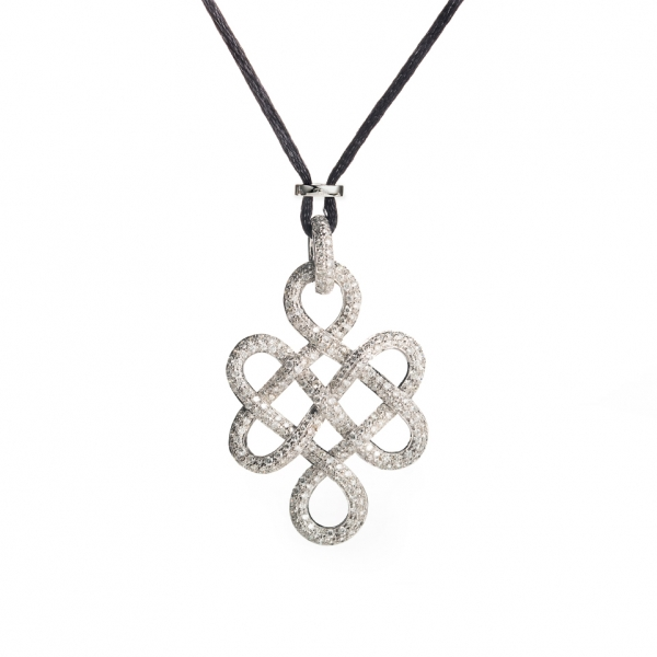 "18K WHITE GOLD ""KNOT"" DIAMOND PENDANT WITH SILK CORD NECKLACE"