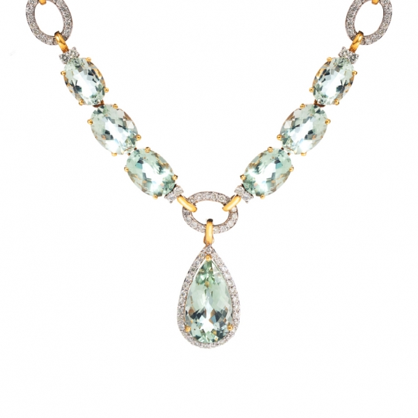 18K YELLOW GOLD PRASIOLITE & DIAMOND NECKLACE