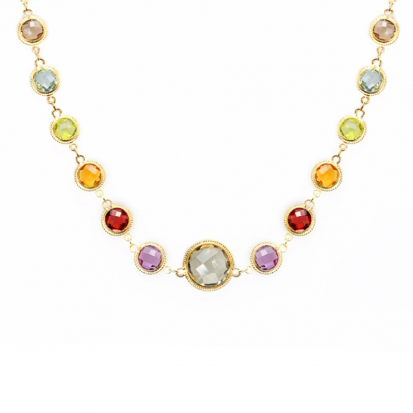 18K YELLOW GOLD MULTI-COLOR SEMI PRECIOUS STONE NECKLACE 90CM