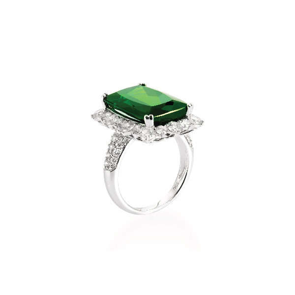 18K WHITE GOLD GREEN TOURMALINE & DIAMOND RING