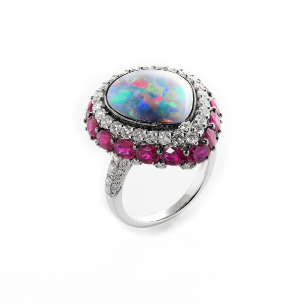 18K BLACK & WHITE GOLD BLACK OPAL, RUBIES & DIAMOND RING