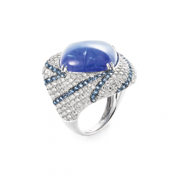 18K WHITE GOLD TANZANITE, SAPPHIRE & DIAMOND RING