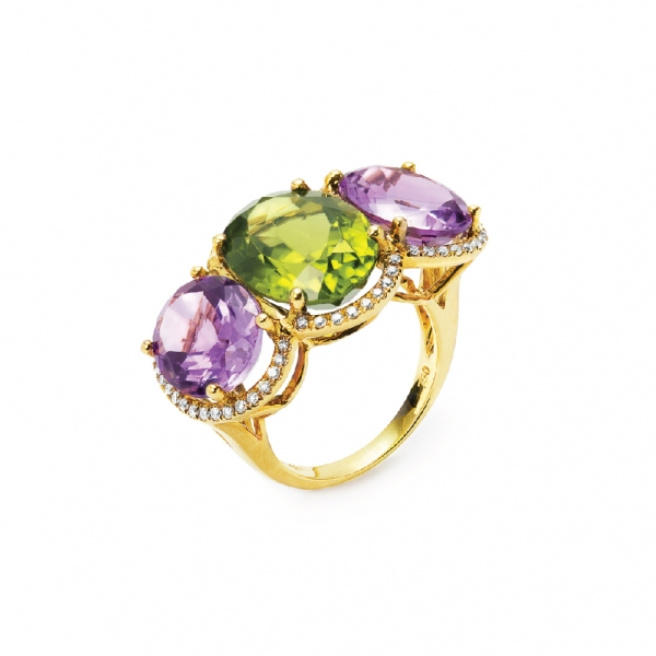 18K YELLOW GOLD PERIDOT, AMETHYST & DIAMOND RING